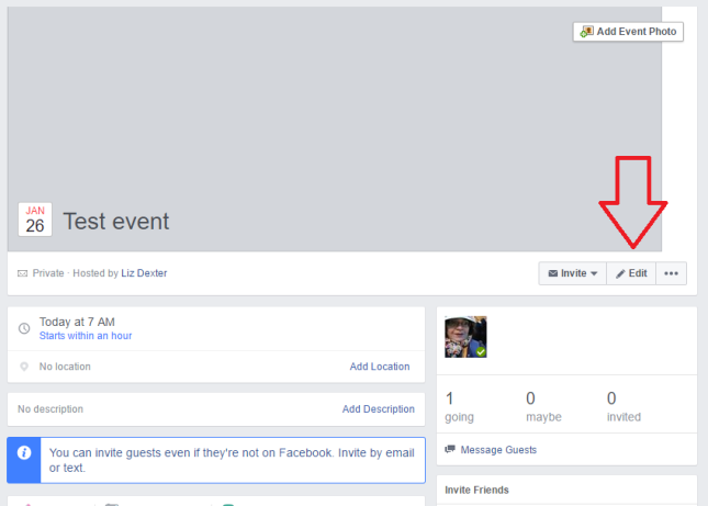 How to edit a Facebook event