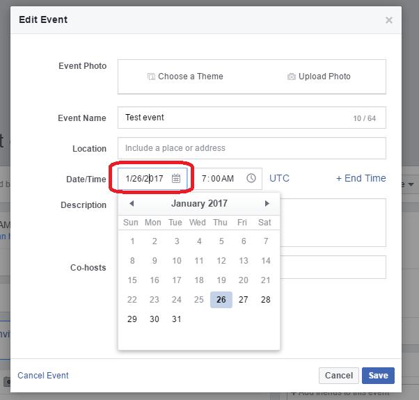 Edit date of a facebook event