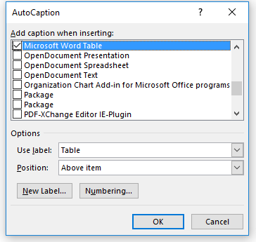 autocaption options