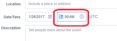 change the time on a facebook event