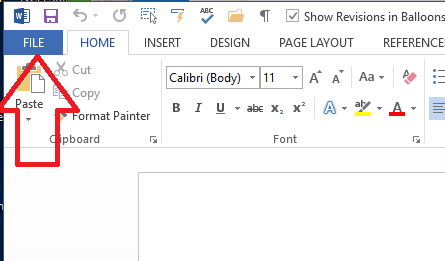 use file tab to get to customise ribbon menu