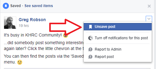 unsave facebook post