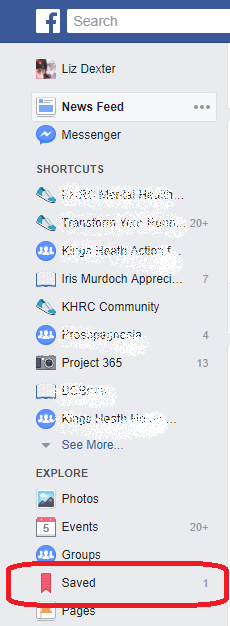 facebook home screen saved posts