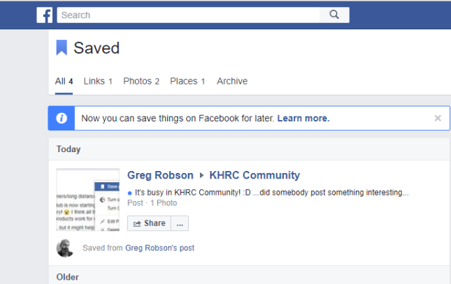 saved posts in facebook