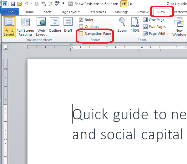 How do I view my Navigation pane in Word? How do I see the